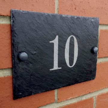 Engraved Slate House Number/Address Plaque - Completely Customisable - 13cm x 18cm